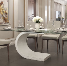 Ferrara Quartz Table in Ammonite Diamond White