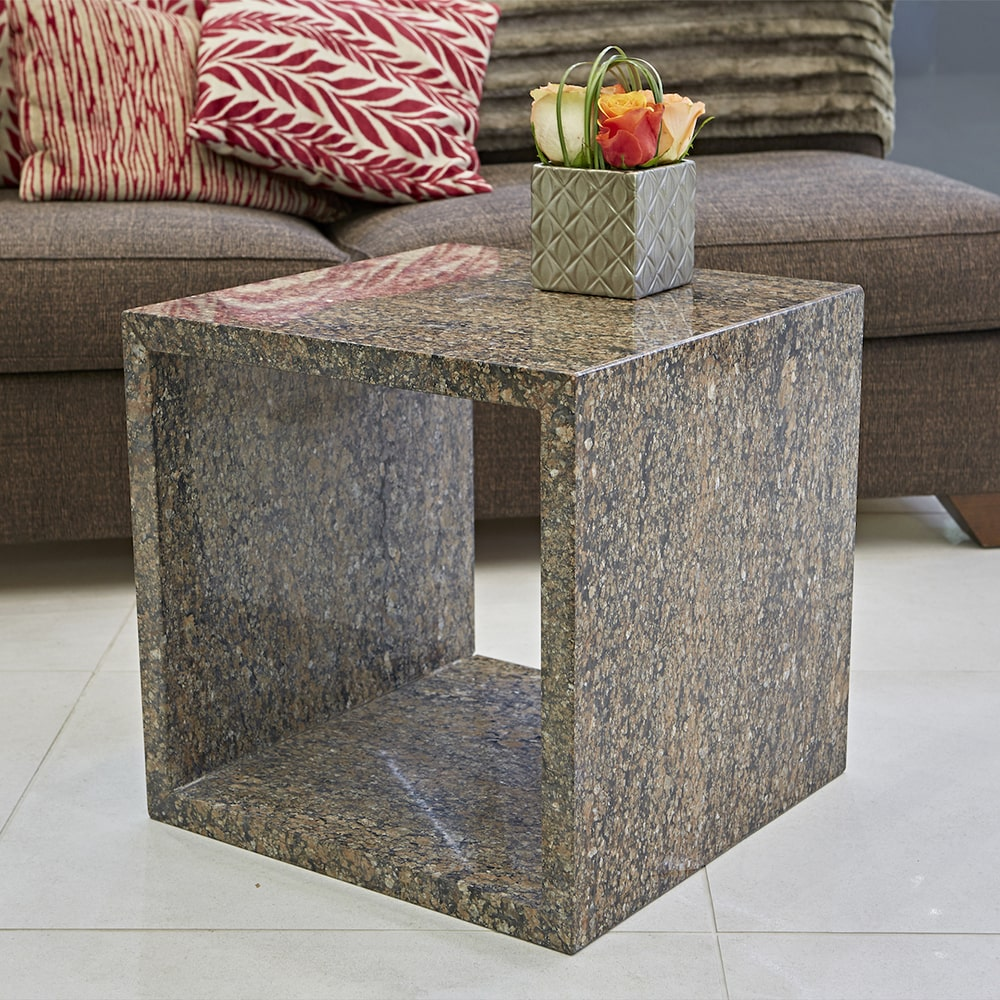 Cubo Stone Coffee Table in Coral Gold Granite