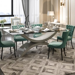 Modena Quartz Dining Table in Ammonite Portobello