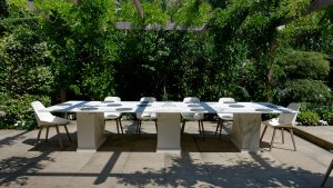 Large outdoor table made from Neolith Estatuario