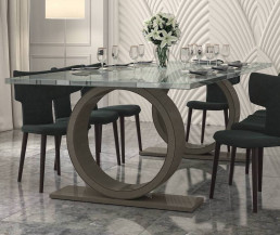 Sienna Quartz Dining Table in Ammonite Portobello