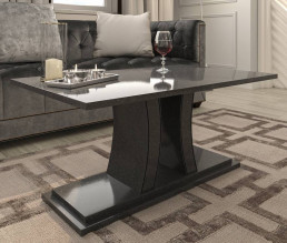 Verona Quartz Coffee Table in Ammonite Diamond Black