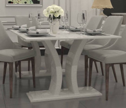 Verona Quartz Dining Table in Ammonite Diamond White